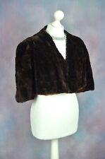 SALOMON 150 Brown genuine vintage fur stole poncho bolero jacket ONE SIZE