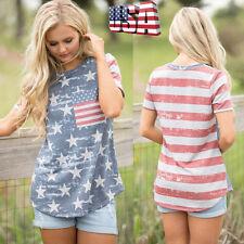 Womens Summer Short Sleeve American Flag Tops Loose Cotton Blouse T-shirt Tee 2xl