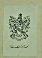 WWI bookplate of GERALD STEEL secretary to Winston Churchill 1st Lord Admiralty