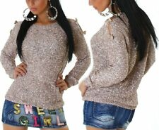 Sexy punto señora jersey brillo lentejuelas suéter bucles 34/36/38 Silver