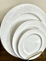 *8 PIECE* BLACK TIE GOLD RIM by GIBSON DESIGNS HOUSEWARES CHINA SET