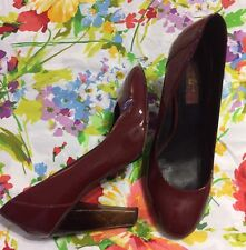 Seven For All Mankind Dark Red Patent Leather Pumps Size 9.5 GUC $215
