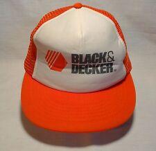 VTG Snapback Baseball Hat Cap BLACK & DECKER Trucker Painter Orange Mesh