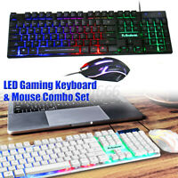 1000DPI Gaming Keyboard and Mouse Set Rainbow LED USB Illuminated for PC Laptop