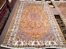 5x8 Persian Carpet Rug Silk Wool Blend Oriental Yellow & White Tan Pakistan New