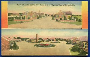 Wayside Auto Court on Route 66 St Louis Missouri mo linen postcard MWM
