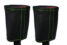 GREEN STITCH 2X SEAT BELT STALK LEATHER SKIN COVERS FITS KIA SOUL 2009-2014