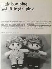 Sewing pattern Jean Greenhowe Little Boy Blue petite fille rose Rag Doll Toy 30 cm