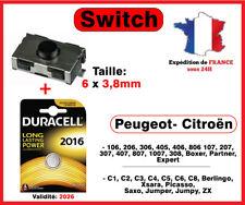 Switch bouton clé Peugeot 106 206 307 406 Citroen xsara C3 C5 + DURACELL CR-2016
