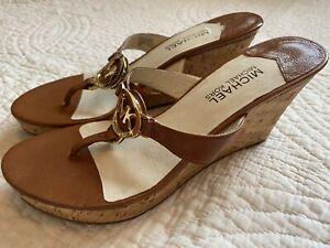 "Michael Kors Thong Toe Wedge Sandals 3 1/2"" Heels CAMEL BROWN Womens 8.5 M  NEW"