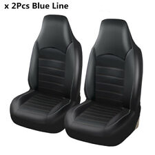 Pair Black With Blue Line Front Seat Cover Protector Bucket Installing New 2019
