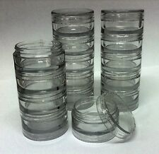 6 sets of 5  x 10ml empty clear stacking jars/beads/crafts/cosmetics pots