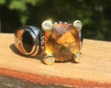 Asch Grossbardt Sterling Silver & 18K Citrine Ring W/ Diamonds MOP Onyx Sz 7.25