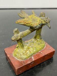 Vintage Miniature Bronze Pheasant Bird On French Art Statue Figurine