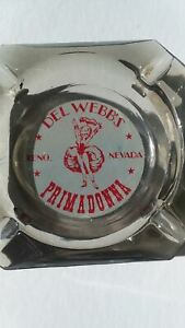 Vintage Del Webb's Primadonna Casino Glass Ashtray Reno Nevada Motel