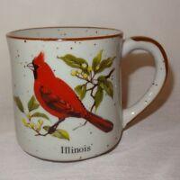 Illinois Cardinal State Bird Coffee Mug 10 oz Cup Stoneware Speckled