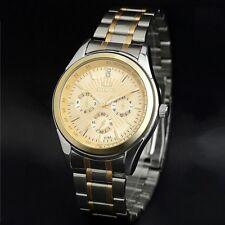 Waterproof Men`s Yellow Gold Stainless Steel 3 Decoration Dials Quartz Watches