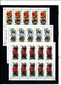 BHUTAN  1973 , Scented Roses,  stamps in minisheets of 10.