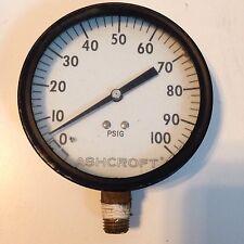 Ashcroft Pressure Gauge 0-100 PSI 3 5/8 Inch Diameter- PSIG- Steel Case