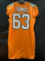 #63 DALLAS THOMAS MIAMI DOLPHINS GAME USED TEAM ISSUED ORANGE COLOR RUSH JERSEY
