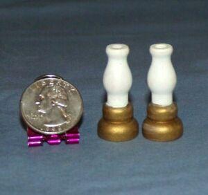 """Miniature Dollhouse Lot 2 Wood Wooden Kerosene Oil Lantern Lamp Light VTG 1.5"""""""