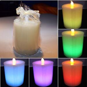Led Echtwachs Kerze Kerzenlampe bunt Beleuchtung Lampe Farbwechsel 6 Farben NEU