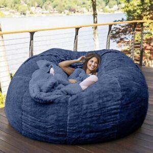 Giant Fur BEAN BAG Memory Living Room Chair Lazy Round SOFA Soft Cover
