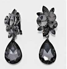 "2.75"" Long Clip On Gray Grey Black Dangle Crystal Pageant Rhinestone Earrings"