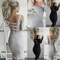 US Womens Ladies Bandage Bodycon Dress Cocktail Evening Party Pencil Midi Dress