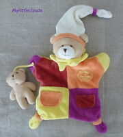 Doudou et compagnie ***Doudou marionnette/peluche ours orange violet jaune beige