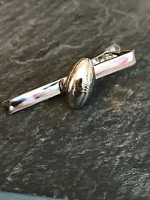 Silvertone Rugby Ball Tie Clip Sports Fan Rugby Player Gift