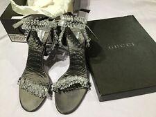 RARE Vintage GUCCI HEELS High Heel Runway Sandals SWAROVSKI Crystals in Box 8 B