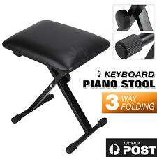 PORTABLE Adjustable 3 Way Folding Keyboard Piano Stool Bench Seat Chair Throne