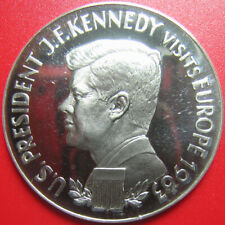 1963 GERMANY ARGENTEUS 1 DUCAT SILVER PROOF JFK KENNEDY VISITS EUROPE RARE COIN!