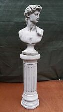 LARGE ANTIQUE MALE BUST COLUMN Hand Cast Stone Garden Ornament Statue⧫onefold-uk
