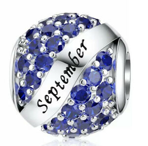 White Gold Finish Blue Sapphire September Charm dubai sahara collection