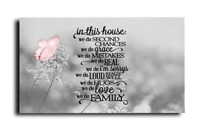 BLUSH PINK BUTTERFLY FAMILY QUOTE  VERSE CANVAS PICTURE 18 X 32 INCH