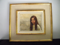 Mid Century Girl Portrait Oil on Canvas by Listed Mexican Artist Reynaldo Torres
