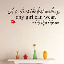 Marilyn Monroe Smile Makeup Quote Vinyl Wall Stickers Art Mural Decal Home UK