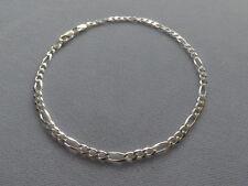"- Figaro- 3mm- 080 -Italy 925 New 8""- Italian Sterling Silver Bracelet"