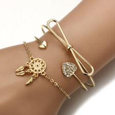 3Pc/Set Fashion Women Cute Diamond Love Heart Bow Dream Catcher Leaves Bracelets