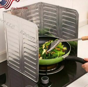 Stove Splatter Guard Folding Non-Stick Grease Shield Cooking Spill Protector New