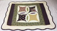 Patchwork Quilt Wall Hanging, Pointed Squares With Crescents, Floral Calicos