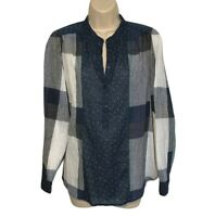 Lucky Brand Top Womens Small Mixed Plaid Popover Long Sleeve Cotton Linen Blend