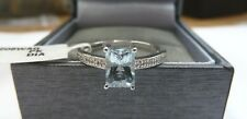 9ct White Gold Aquamarine & Diamond Ring - Size N