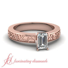 1/2 Carat 18K Rose Gold Engagement Rings For Women With Emerald Cut Diamond GIA