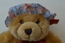 Baby Girls Summer Mop Hat 0-2 years Orange / Blue Check 100% Cotton Made in UK