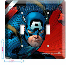 Captain America Super Hero Double Light Switch Wall Plate Cover Boy Bedroom Room