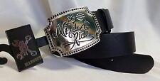Harley-Davidson Wild Ride Rhinestone Black Leather Belt Women's size L (12-14)