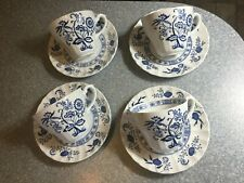 J & G MEAKIN England CLASSIC Blue Nordic Blue Onion 4 Sets CUPS / SAUCERS